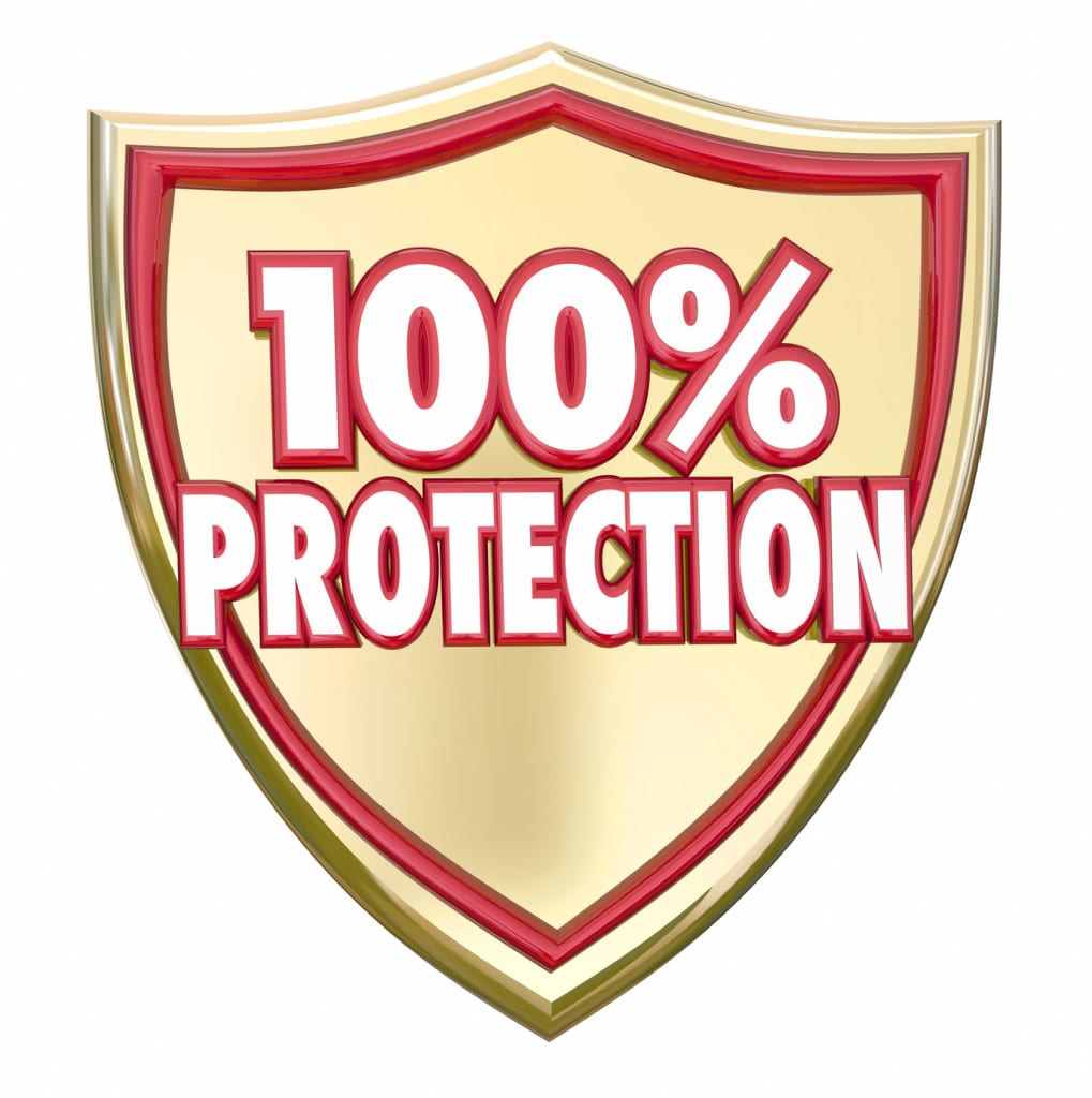 100 Percent Protection Shield Safety Security Insurance